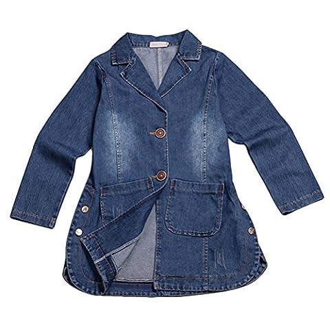 Zhuhaitf Kids Long Sleeve Jean Jacket Boyfriend Fashion Denim Coat Heavy Duty Washed Pocket for Girls