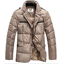 E-Artist cuello de traje corto de chaqueta de plumón de pato de grosor perchero de cálido Slim Smart Business Casual para exteriores para hombre Caqui Y05