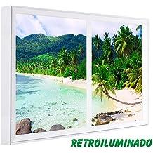 CCRETROILUMINADOS. Cuadros Decorativos. Ventanas Falsas Retroiluminadas. Playa con Palmeras (60_x_80_cm, Blanco)