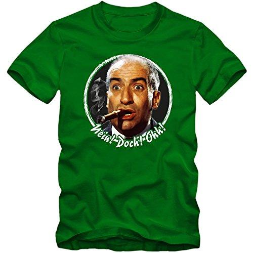 Louis De Funès T-Shirt Gendarm von Saint Tropez Fantomas Fanshirt Tee, Farbe:Hellgrün (Kelly Immature);Größe:M