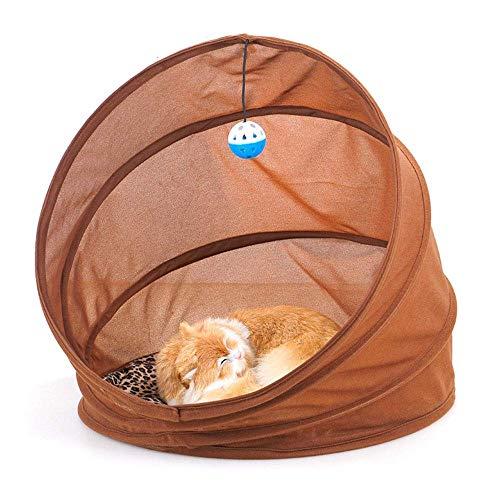 Jstyal968 Yalztc-zyq16 Pet Nest zusammenklappbare tragbare Pet Tunnel Katzenstreu Multifunktions-Katzensofa Pet Toy Supplies mit Kissen, Brown45 * 45cm