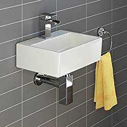 iBathUK Modern Square Ceramic Small Cloakroom Basin Wall Hung Bathroom Sink CA1002