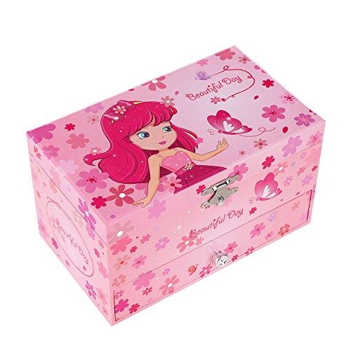 SONGMICS Musikspieldose, Spieluhr, Schmuckkästchen mit Schubladen und Spiegel, Aufbewahrung, Geschenk für Mädchen, rosa, JMC003PK - 2