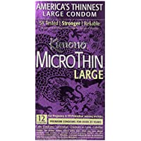Kimono MicroThin Large Latex Condoms, Lubricated, 12-Count Boxes (Pack of 2) by Kimono