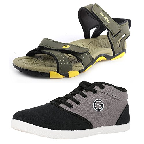 Lotto Mens's Combo Of Sandal & Globalite Casual Shoes GT7145_461