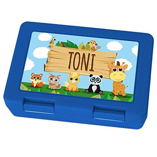 Brotdose mit Namen Toni - Motiv Zoo, Lunchbox mit Namen, Brotdose Blau - Frühstücksdose Kunststoff lebensmittelecht