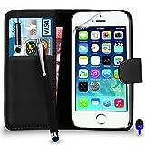 Apple iPhone 5 / 5S Premium Leather Wallet noir flip écran Housse Pouch + Mini Stylus Pen + Big tactile Stylet + Protecteur & Chiffon PAR SHUKAN®, (Noir)