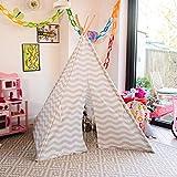 boppi Teepee Großes Spielzelt für Draußen und Drinnen, tragbar, aus Holz und Zelttuch, Indianerwigwam für Kinder, Spielhaus für Jungs und Mädchen - Grau