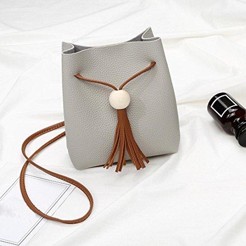 Longra Solid Color donne alla moda perline in legno frange Borsa Messager Bag borsa singola borsa zero borsa spiaggia Grigio