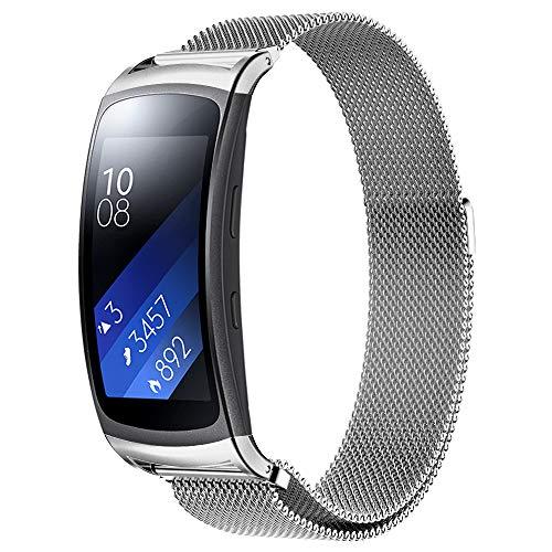 "Simpeak Ersatz Samsung Gear fit 2 Armband Silber (5,5\""-6,7\""), Uhrenarmband Milanese Edelstahl Magnet Armbänder Band Ersatz Samsung Gear fit 2"
