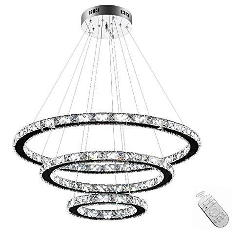 SAILUN 96W LED Kristall Design Hängelampe Drei Ringe Deckenlampe Pendelleuchte Kreative Kronleuchter Dimmbar Lüster -