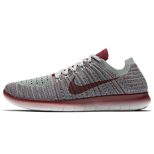 Nike Wmns Free Rn Flyknit, Scarpe da Corsa Donna Wolf Grey/Team Red/Mica Green/Cool Grey