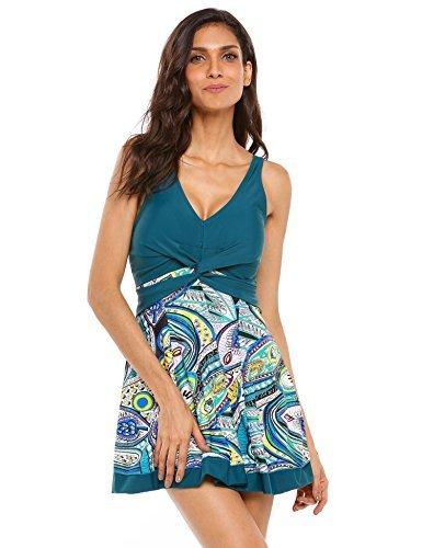 d78c05b6b58cb Esqlotre Women's One Piece Swimsuit Retro Floral Straps Skirtini Monokinis  Swim Dress - Blue - X-Large