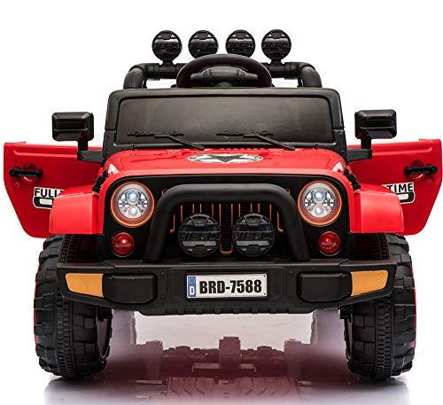 Coche eléctrico de batería 12V con Mando para niños Wrangler Mountain, de BABYCOCHES (Rojo)