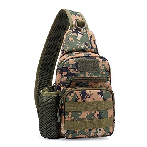 Herren Tactical Sling Schulter-Umhängetasche Tasche Assault Pack für Tasche Camping Wandern, Trekking, Rover Sling, Dschungel-Camouflage (Gitter-sling-rucksack)