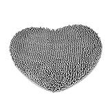 Tong Yue Herz Teppich Schlafzimmer Tür flauschig Chenille Teppich Kissen saugfähig Rutschfest Bodenmatten grau