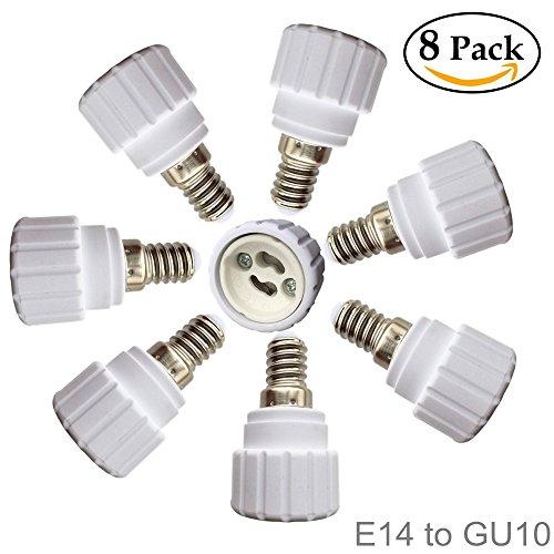 Eleidgs 8 PCS E14 vers GU10 Adaptateur de Douille , Ampoule LED Base Douille E14 à GU10 Lamp Holder Converter