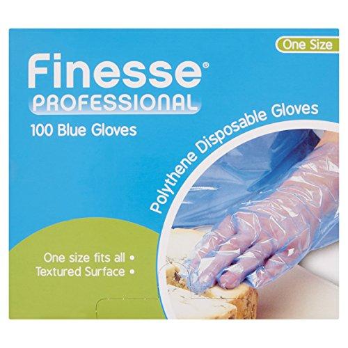 Finesse, misura unica, colore: blu-Guanti in polietilene, confezione da 5 pezzi, totale di 500