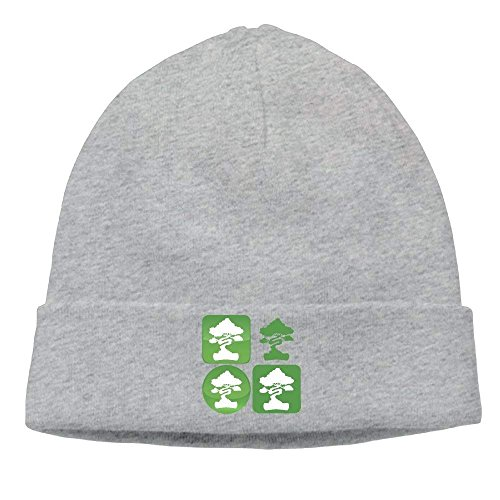 Bonsai Tree Icon Knit Hats for Men and Women Winter Warm Slouchy Skull Hat Funny Unisex Hip hop Icon Knit Visor Beanie