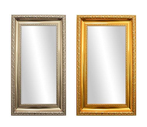 Starline Barock Wandspiegel mit Facettenschliff 109x50 cm Silber Spiegelglas und Verzierungen Badspiegel Ankleidespiegel Garderobenspiegel Star-LINE®