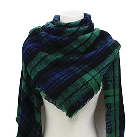 Large Soft Plaid Scarf Women Winter Knit Blanket Scarf Cashmere Feel Shawl and Wraps (8)