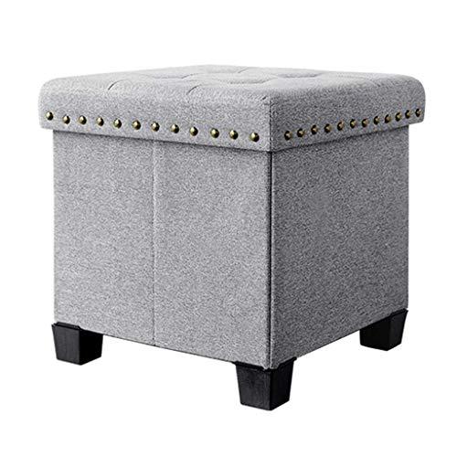 Multifunktionstuch-Aufbewahrungshocker Praktische Osmanische Cube Box Hocker Gepolsterte Fußstütze Einzelsitz HENGXIAO (Farbe : Gray)