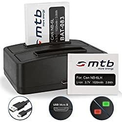 2 Batteries + Dual Charger (Usb) Nb-6l Nb-6lh For Canon Powershot S120, S200 (2014), Sx610, Sx710 Hs ... Ixus 300 Hs, 310 Hs ... - Compare List