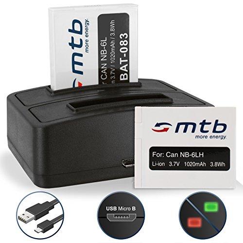 2 Akkus + Dual-Ladegerät (USB) NB-6L NB-6LH für Canon Powershot S120, S200 (2014), SX610, SX710 HS / IXUS 300 HS, 310 HS - s. Liste -