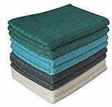 """gryeer microfibra–paños de cocina y # x20AC; """"suave y absorbente y pelusa paños de cocina–Ideal para cocina, limpieza para el hogar, baño y garage-45X 65cm, 8unidades), (gris, azul, verde, beige)"""