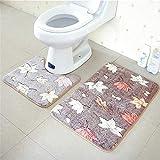 OOFAYWFD Thick Coral Fleece Badezimmer Zweiteilige Badezimmer Anti-Rutsch-Matte WC Zweiteilige Teppich Matte,6