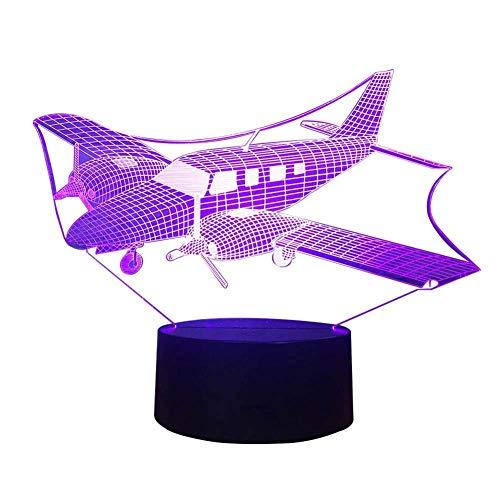 Preisvergleich Produktbild ZHJXQD 3D dekoratives Nachtlicht Nachtlicht 3D LED-Lampe Flugzeuge Optische Täuschung,  USB-gesteuerte Fernbedienung Ändert die Farbe des Lichts,  Kinderfreunde und Familien Emotionale