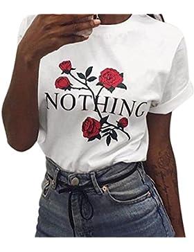 Camisas Mujer, ❤️Xinan Camiseta Para Mujer Nothing Rose Printing Tops Sueltos de Verano Blusa de Manga Corta