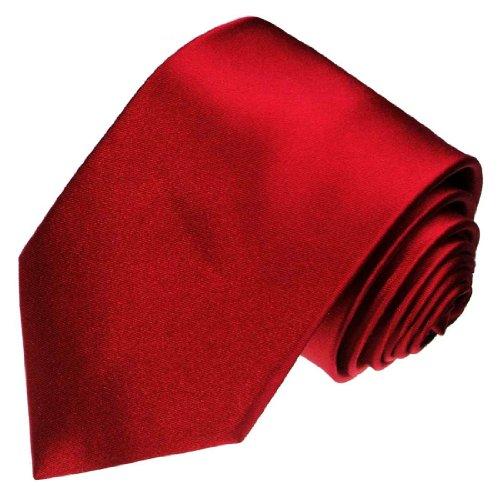 LORENZO CANA - Weinrote Krawatte aus 100% Seide Satinseide - Roter Seidenbinder - 84450