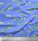 Soimoi Blau Baumwoll-Popeline Stoff Baum & Nashorn Tier Drucken Nahen Stoff 1...