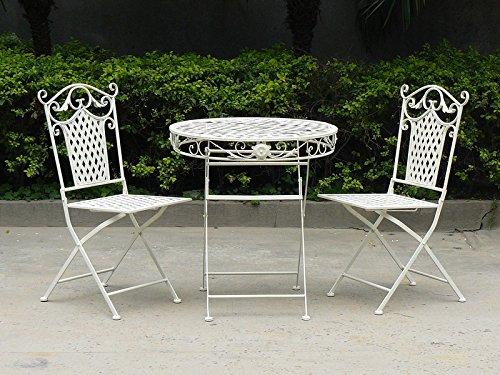 MAXIOCCASIONI Set Table et Deux chaises en Fer Blanc de Jardin