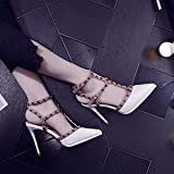 Yukun zapatos de tacón alto Studded Patent Leather High Heels Female Pointed Stiletto Wind Buckle Buckle Hollow, 34, White