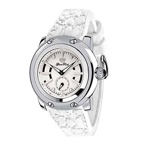 Glam Rock Unisex GR40300 Miami Collection Stainless Steel and WhiteRubber Watch