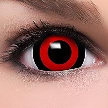 """FUNZERA®Mini Black Sclera Lentillas de Colores """"Tokyo Ghoul"""" + 10 ml solución + recipiente para lentes de contacto, sin dioptrías pack de 2 unidades - cómodas y perfectas para Halloween, Carnaval, sin corregir"""