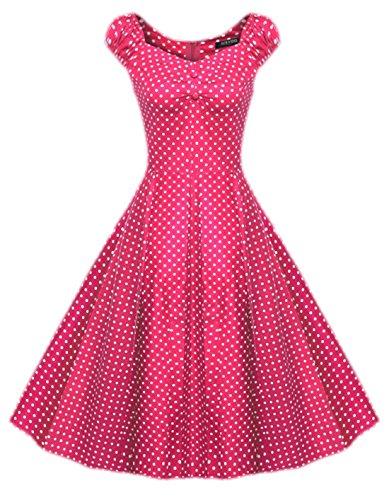 erdbeerloft - Damen Retro Kleid Punkte Polka Dots 50er , 34-44, Viele Farben Rosa
