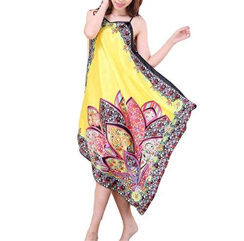Hippolo Damen Sommer Ärmelloses Trägerloses Nachthemd Sling Nachthemd Damen Pyjama (Gelb) (Sleepshirt Robe)