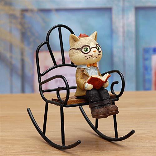 SQbjshaop Bücher, Katzen, Gelddosen, Windspiele, Anhänger, Nachtlichter, Tischdekorationen, niedliche kleine Verzierungen, koreanische Mädchenherzen, Schaukelstuhl für Schauspielkatze