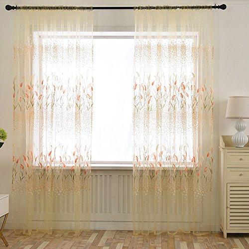 SUCES Vorhang Transparent Gardinen Transparent Schlaufenschal Transparent 200cm x 100cm (L x W), Voile Tür Fenster Vorhang Balkon Sheer Panel Bildschirm Vorhänge Tür Fenster Dekor (Orange)