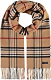 FRAAS Schal aus reinem Cashmink für Damen & Herren - Made in Germany - warmer XXL-Schal - Plaid weicher als Kaschmir - karierter Winter-Schal Camel