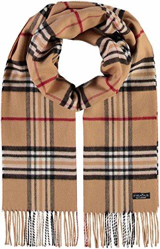 FRAAS Schal aus reinem Cashmink für Damen & Herren - Made in Germany - warmer XXL-Schal - Plaid weicher als Kaschmir - karierter Winter-Schal Camel