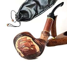 """La pipa fatta del pero di alta qualita, lavorazione a mano """"Nave""""+ la borsa da tabacco"""