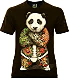 Classic Wear Rock Eagle International Sumo Panda Herren T-Shirt Schwarz Gr. XL Glow in The Dark