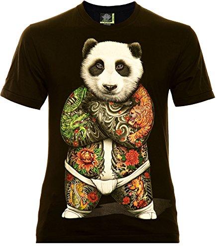 Sumo Panda Herren T-Shirt Schwarz Gr. 3XL Glow in The Dark (Für Mafia Männer Anzüge)