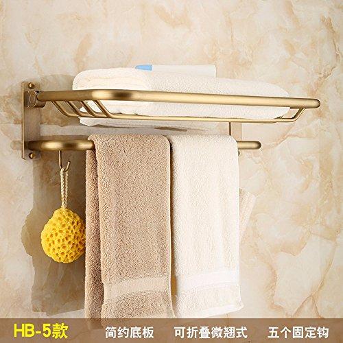 MBYW minimalistische hohe tragende Handtuchhalter Bad Handtuchhalter Ablagefach Antike Handtuchhalter Folding Duschraum Rack Badezimmer Hardware Anhänger Kupfer gebürstet Handtuchhalter, Stil 5 (Folding Rack Drucken)