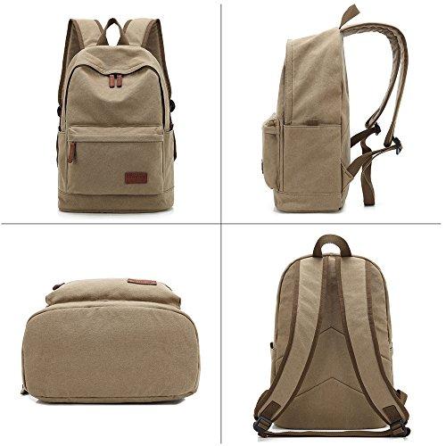Classic Canvas Rucksack Große Kapazität Multifunktions-Rucksack Schule Bookbags passt 35,6cm Laptop Tasche für Damen und Herren Khaki