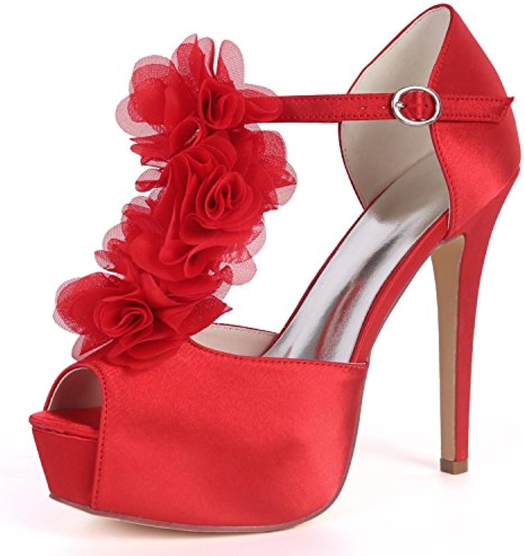 Eleoulck Scarpe da Sposa da da da Donna Kitten Satin 12.5cm Heel Buckle Evening Low Heels High Heel High Bridal Chunky | Outlet Online Store  | Uomini/Donna Scarpa  bc5007